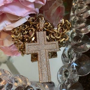 NEW men iced out blind 2 tone cross holy necklace